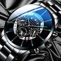 Часы наручные мужские кварцевые с календарем, модные роскошные, из нержавеющей стали, профессиональные повседневные