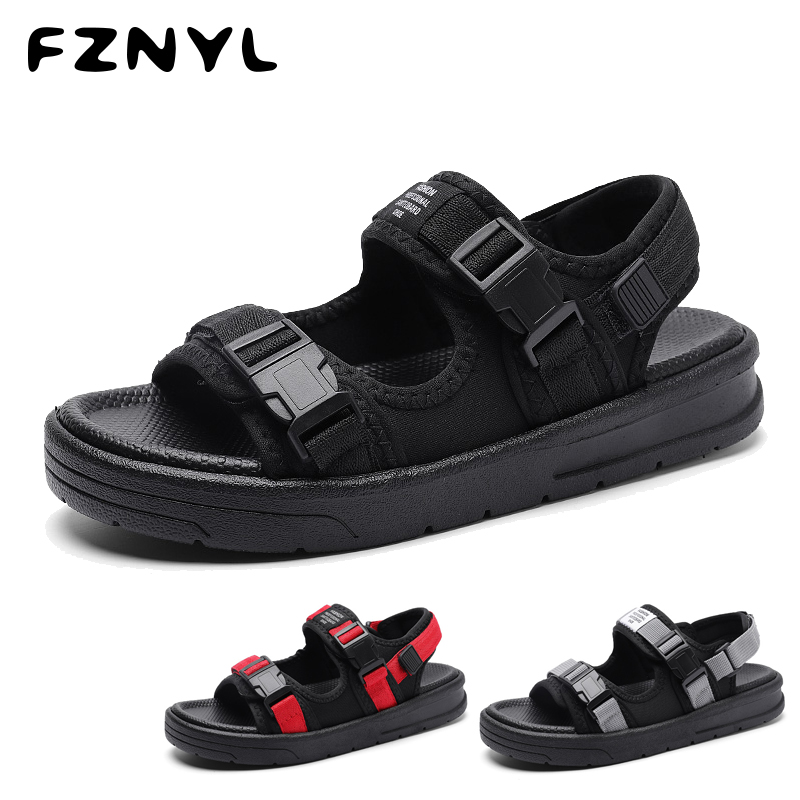 FZNYL Fashion Man Beach Sandals Male Breathable Casual Shoes Outside Soft Thick Bottom Non-slip Flip Flops Plus Size Footwear