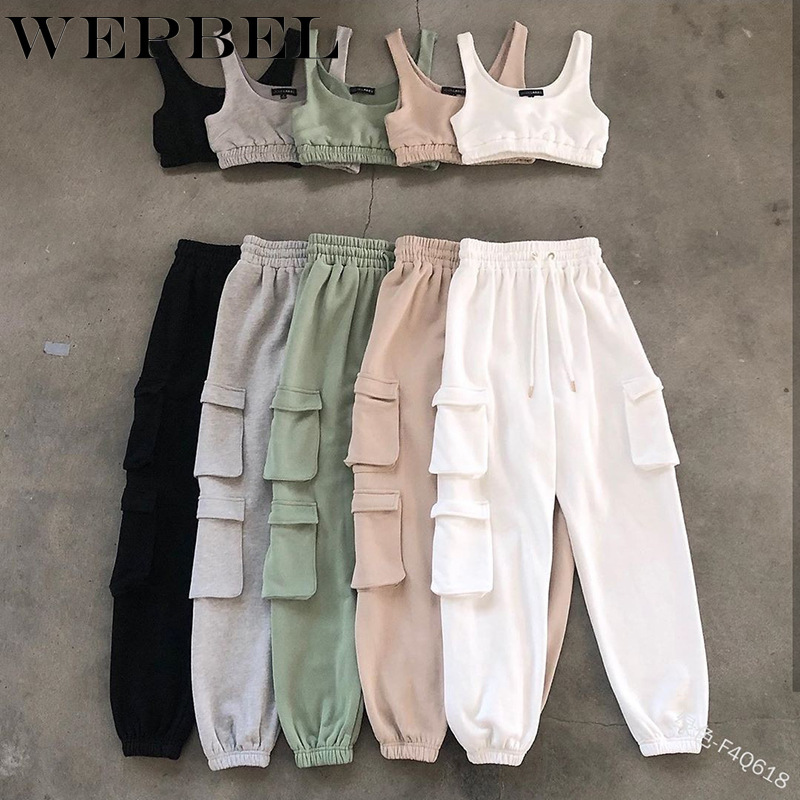 Mandylandy Summer Women Tracksuit 2 Piece Sets Sleeveless Crop Top Cargo Pants Lady Fitness Suit Sexy Outfits Women Matching Set