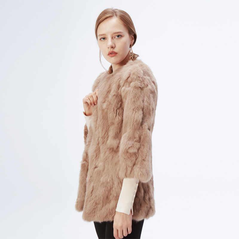 Ethel Anderson doğal kürk ceket o-boyun İnce uzun gerçek tavşan kürk ceket hakiki tam Pelt kürk ceket kadınlar tavşan kürk dış giyim