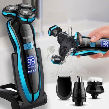 Cyfrowy wyświetlacz LCD mężczyźni golarka elektryczna USB elektryczna maszynka do golenia z akumulatorem maszynka do golenia trymer do brody Wet-Dry Dual Use tanie i dobre opinie HAIMAITONG NONE Mężczyzna CN (pochodzenie) Z potrójnym ostrzem 80 Min Do mycia całego ciała 2020 Globalny Uniwersalny (100-240 V)