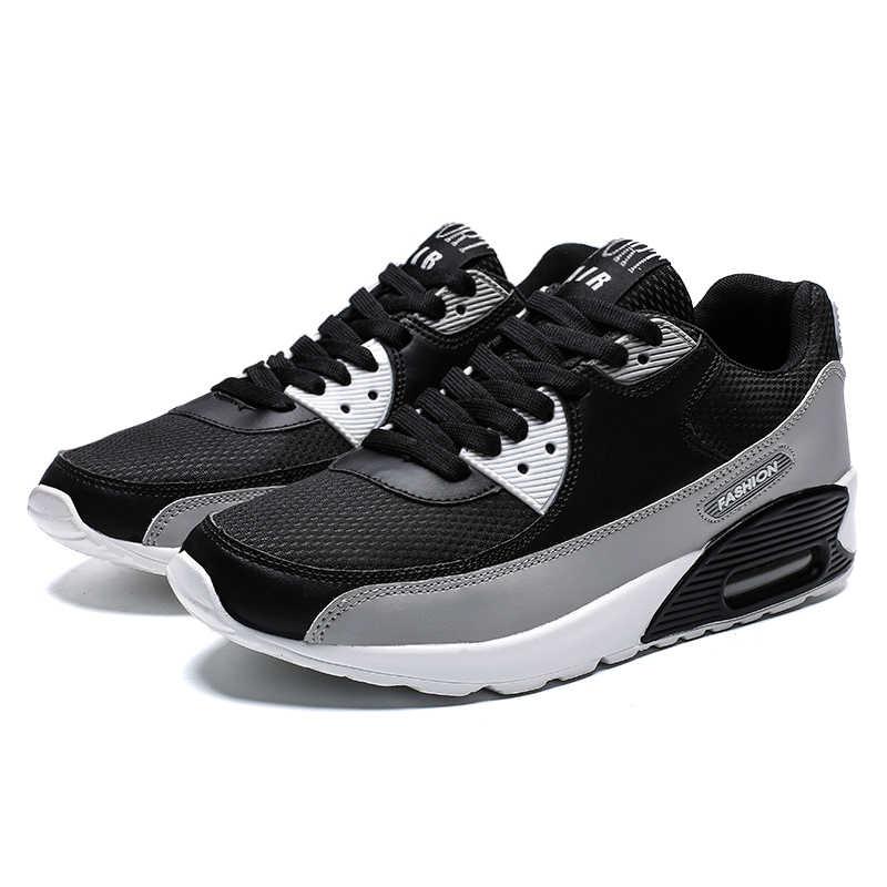 2019 zapatillas deportivas para parejas almohadón de aire para mujeres y hombres zapatos para correr zapatillas cómodas para correr con cordones zapatos para correr baratos