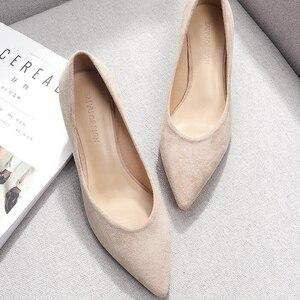 Image 4 - รองเท้าผู้หญิง 2020 สีดำบนสแควร์รองเท้าส้นสูงPoint Toeรองเท้าส้นสูงรองเท้าผู้หญิงสุภาพสตรีผู้หญิงปั๊ม 2020 ฤดูใบไม้ร่วง