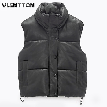 2021 Autumn Winter Women Black Faux Leather Jackets Fashion Zipper Sleeveless Coat Tops Female Casual Warm Outwear Ladies 1