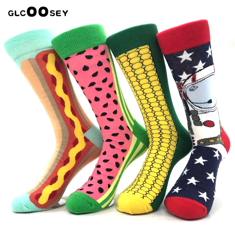 4 Pairs Happy Socks Corn Astronauts Watermelon Stripes British Wind Hit Color Men Socks Pure Cotton Harajuku Funny Socks Men