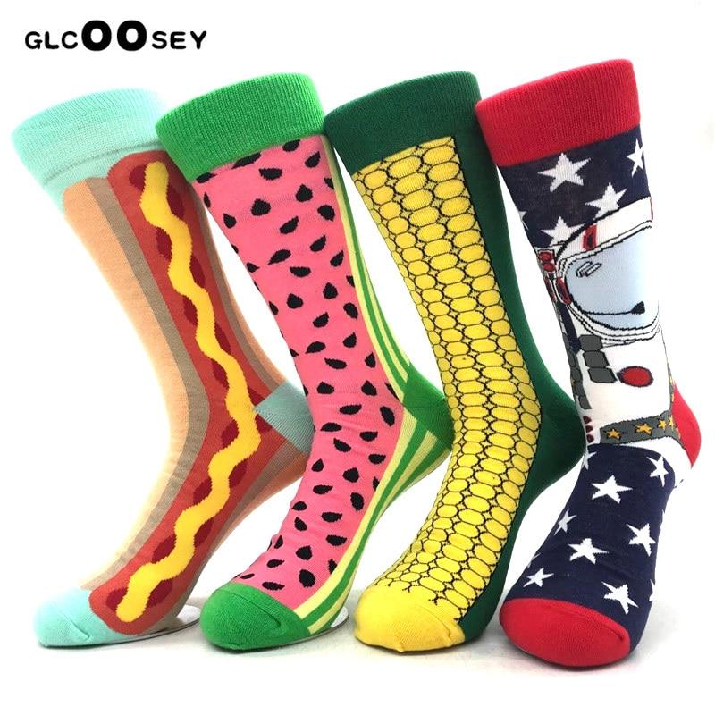 4 Pairs Happy Socks Corn Astronauts Watermelon Stripes British Wind Hit Color Men Socks Pure Cotton Harajuku Funny Socks Men