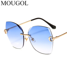 MOUGOL 2019 Luxury rimless sunglasses women decoration gradient sun glasses for female vintage brand big ladies eyewear oculos