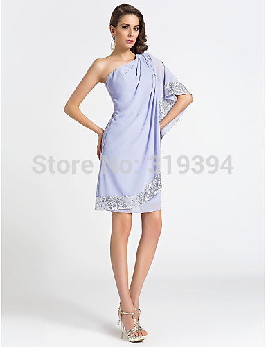 2020 New Fashion Lavender One Shoulder Cocktail Dress Sheath/Column Sequins Party / Holiday Dresses Plus Size robe de soriee