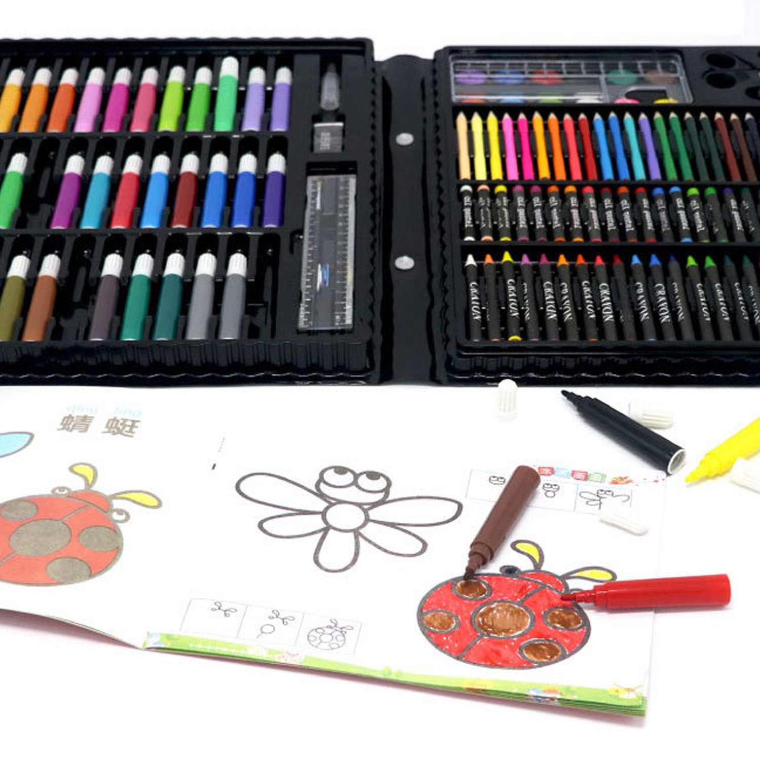 168PCS Painting Drawing Art Artist Set Kit Water Color Pen Crayon Oil Pastel Painting Tool Supplies Kids Stationery Gift Set 6