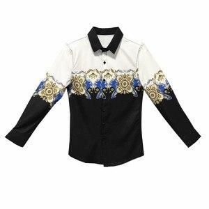 Image 5 - Digital Gedruckt Casual Shirt Männer Langarm Neue 2020 Koreanische Kleid Slim Fit Smoking Shirts Männlichen Mode Nacht Club Arbeiten hemd Männer
