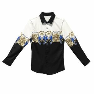 Image 5 - Digital Printed Casual Shirt Men Long Sleeve New 2020 Korean Dress Slim Fit Tuxedo Shirts Male Fashion Night Club Work Shirt Men