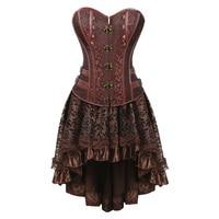 Sexy Gothic Steampunk Dress Women 2 Piece Set Cosplay Clothes Plus Size Lace Victorian Vintage Retro Corset Party Dresses 5XL