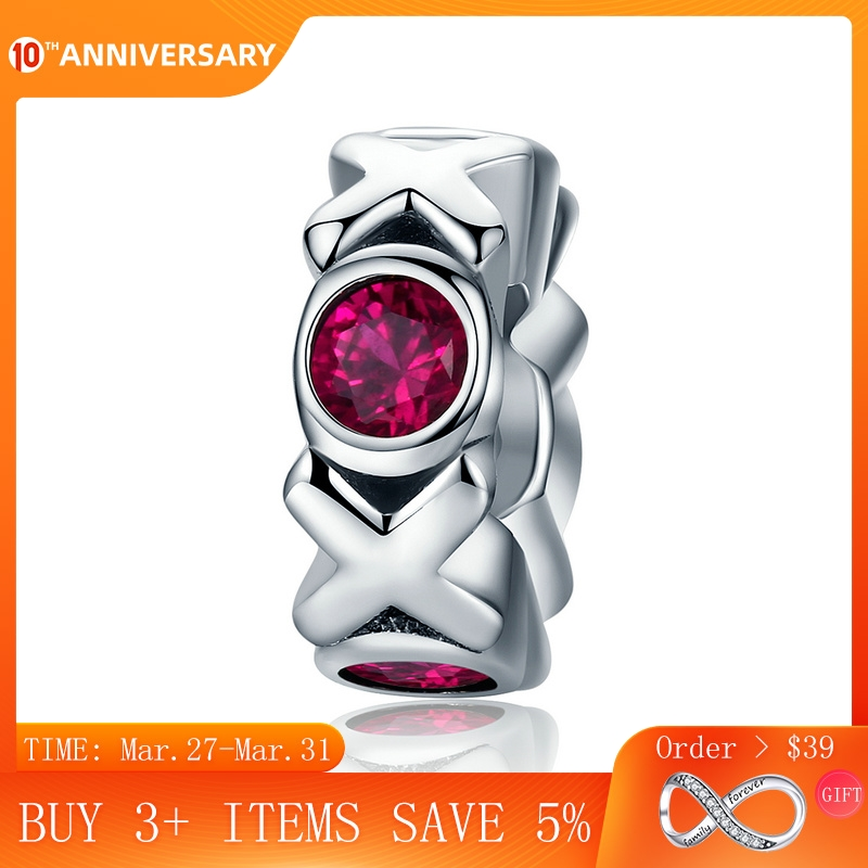 CodeMonkey 100% 925 Sterling Silver Kiss Kiss & Hug Huge Spacer Pink Crystal Beads fit Women Charm Bracelets XOXO Jewelry CMC211