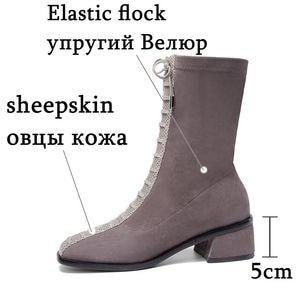 Image 3 - ALLBITEFO hot sale genuine leather+Elastic flock Square toe women boots Frenulum ankle boots Autumn Winter Classic fashion boots