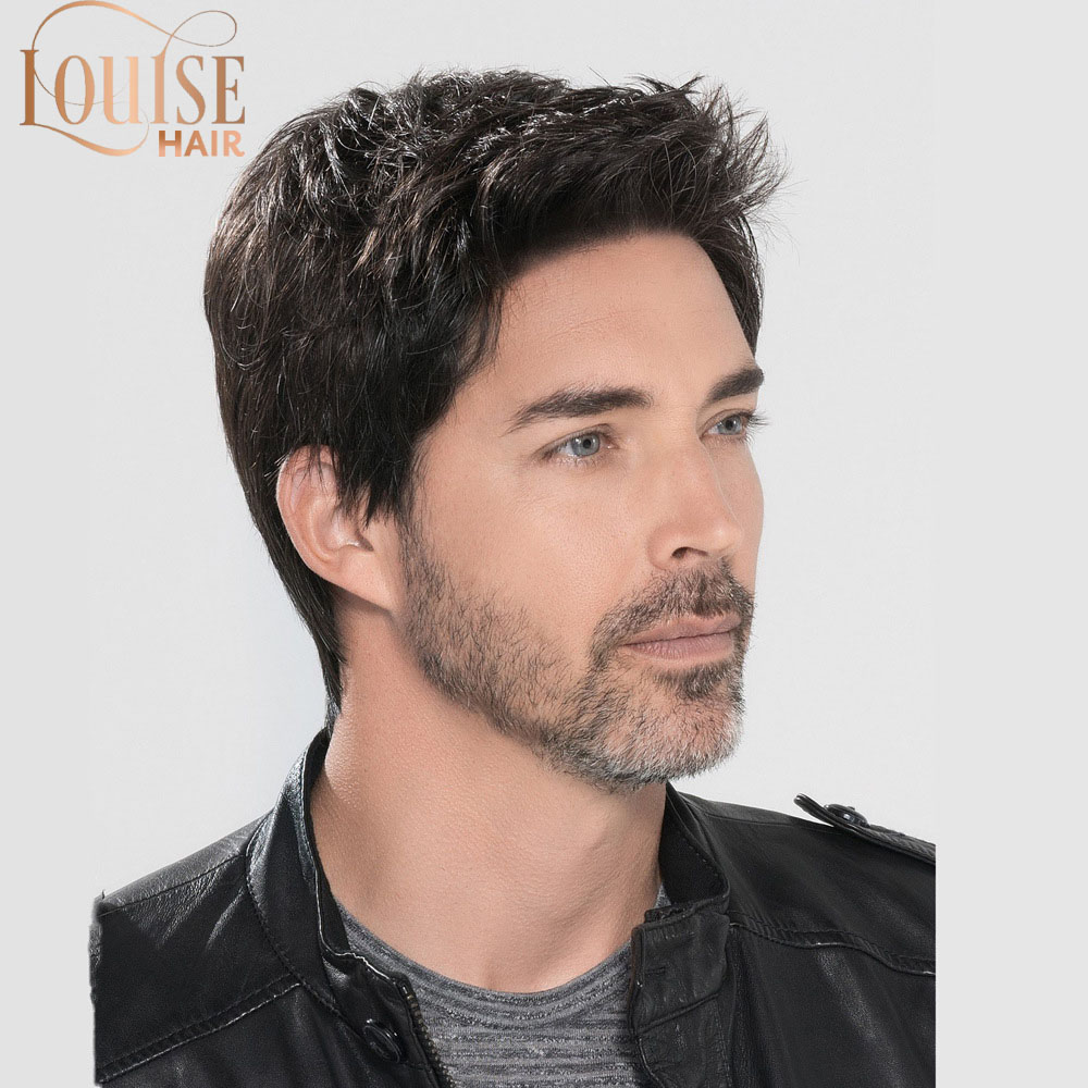 Louise Hair  Short Striaght Full Synthetic Wig For Men Male Hair Fleeciness Realistic 100% Real Natural Hair Wigs