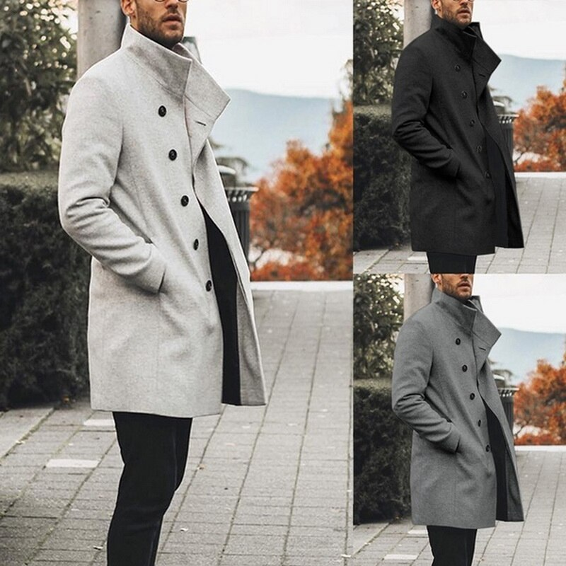 Oeak Autumn Mens Brand Treanch Coats Stand Fashion Long Jacket Overcoat Casual Solid Slim Pocket Coats Black White Outwear 2019