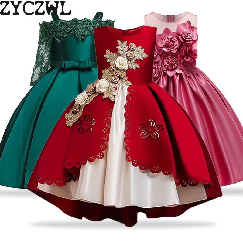 Vestidos infantiles para niñas Vestido princesa elegante navidad niños noche fiesta Vestido flor chica Vestido de boda Vestido Infantil