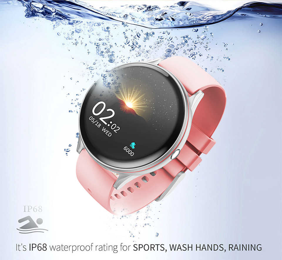 LIGE 2020 yeni tam dokunmatik ekranlı akıllı saat kadınlar çok fonksiyonlu spor kalp hızı kan basıncı IP67 su geçirmez Smartwatch + kutu