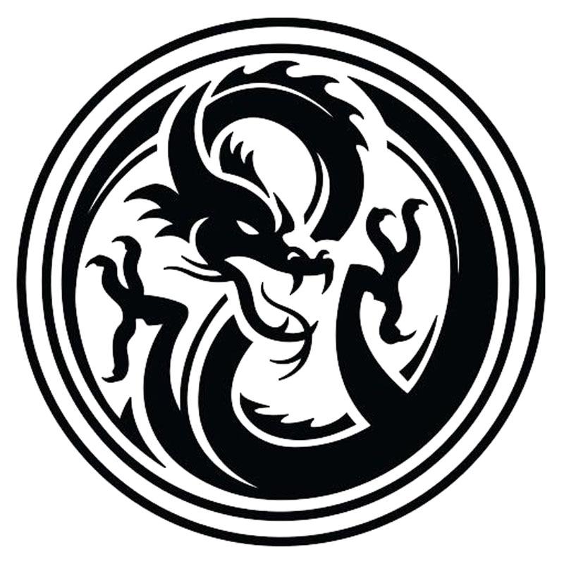 14*14 см классического искусства наклейки для автомобиля Дракон Тотем Mark круглый Виниловый фон для стайлинга автомобилей наклейка черный/сер...