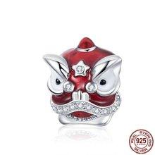 Китайский танец льва шарма 925 пробы серебро красные Эмалевые