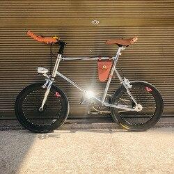 20 Inch Cố Định Bánh Xe Đạp Đơn Tốc Độ Retro Xe Đạp Fixie Xe Đạp Vintage Bạc Khung Xe Đạp Mini Vinbicycle Với Màu Bạc Rổ