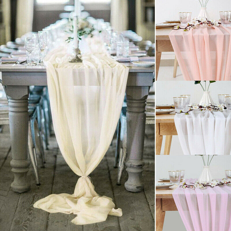 1Pcs Beautiful Soft Chiffon Table Runner Tablecloth Wedding Christmas Party Home Decor Chair Sash Party Decoration Banquet