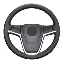Black Genuine Leather Car Steering Wheel Cover for Opel Astra (J) 2010-2015 Ampera 2012-2015 Meriva (B) 2010-2017  Zafira коврик в багажник элерон opel astra j sports tourer wag 2010