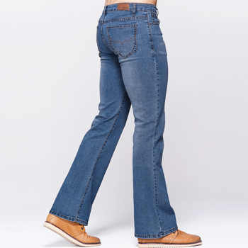 GRG Mens Slim Boot Cut Jeans Classic Stretch Denim Slightly Flare Sky Blue Jeans Casual Stretch Jeans