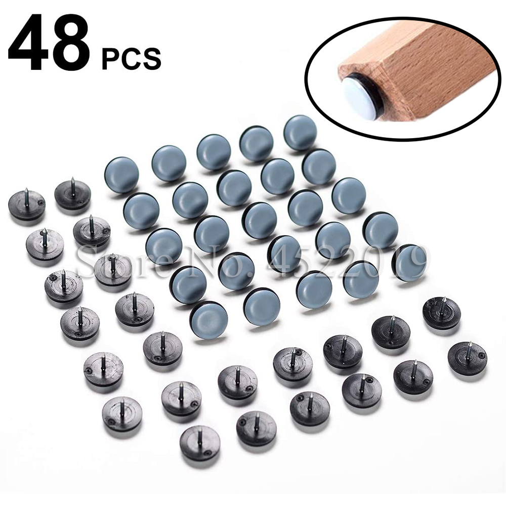 48Pcs Furniture Glide,Nail-on Plastic Slider Pad Floor Protector for Wooden Leg Feet of Chair Table