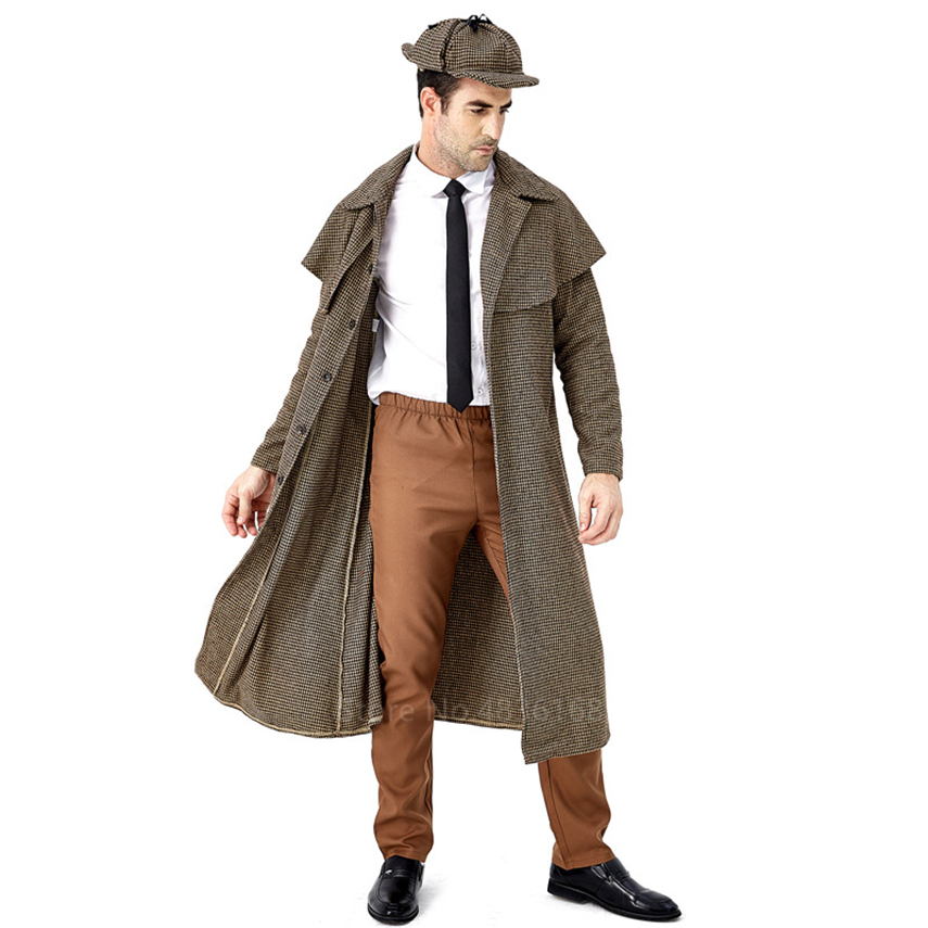 Detective Sherlock Holmes Cosplay Costumes For Adult Men Halloween Carnival Party England Style Houndstooth Trench Coat Hat Sets