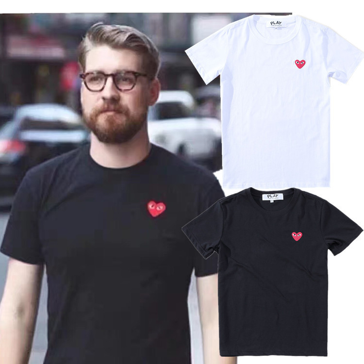 Spring And Summer Embroidery Love Hearts Round Neck Love Embroidery Short Sleeve Lovers Simple Fashion Joker Base Shirt