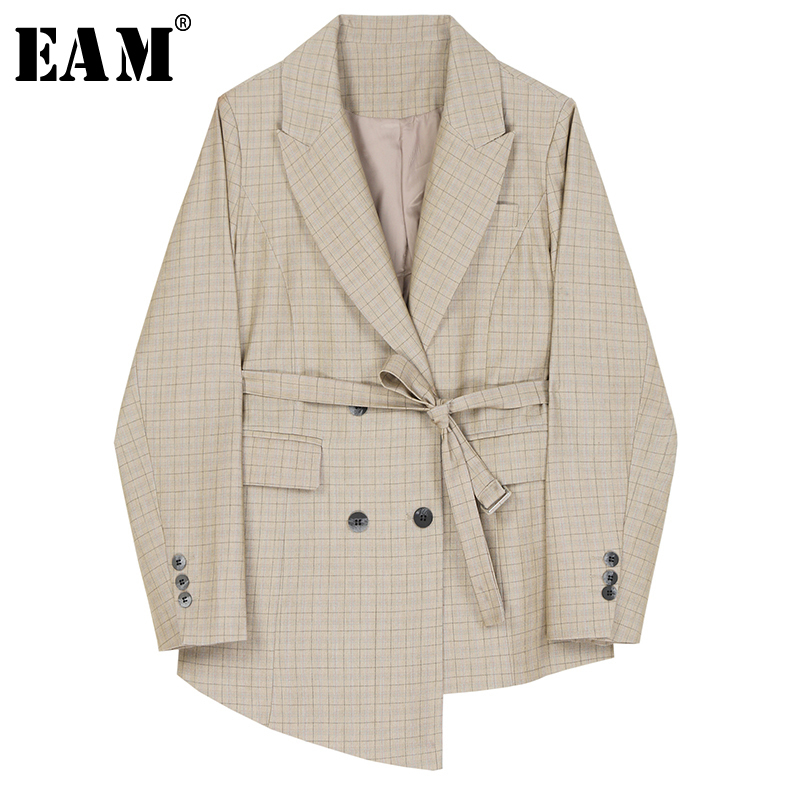 [EAM]  Women Plaid Bandage Asymmetrical Blazer New Lapel Long Sleeve Loose Fit  Jacket Fashion Tide Spring Autumn 2020 1R219
