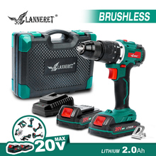 LANNERET Electric Drill Brushless Drill Brushed Drill 20V Cordless Drill Lithium Battery 13MM Drill Keyless