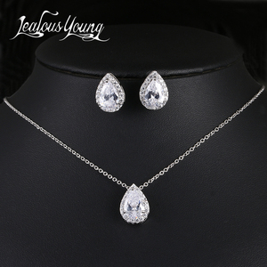 Nigerian Water Drop Cubic Zirconia Wedding Jewelry Sets inlay Luxury Crystal Bridal Jewelry Set Gifts For Bridesmaids AS099(China)