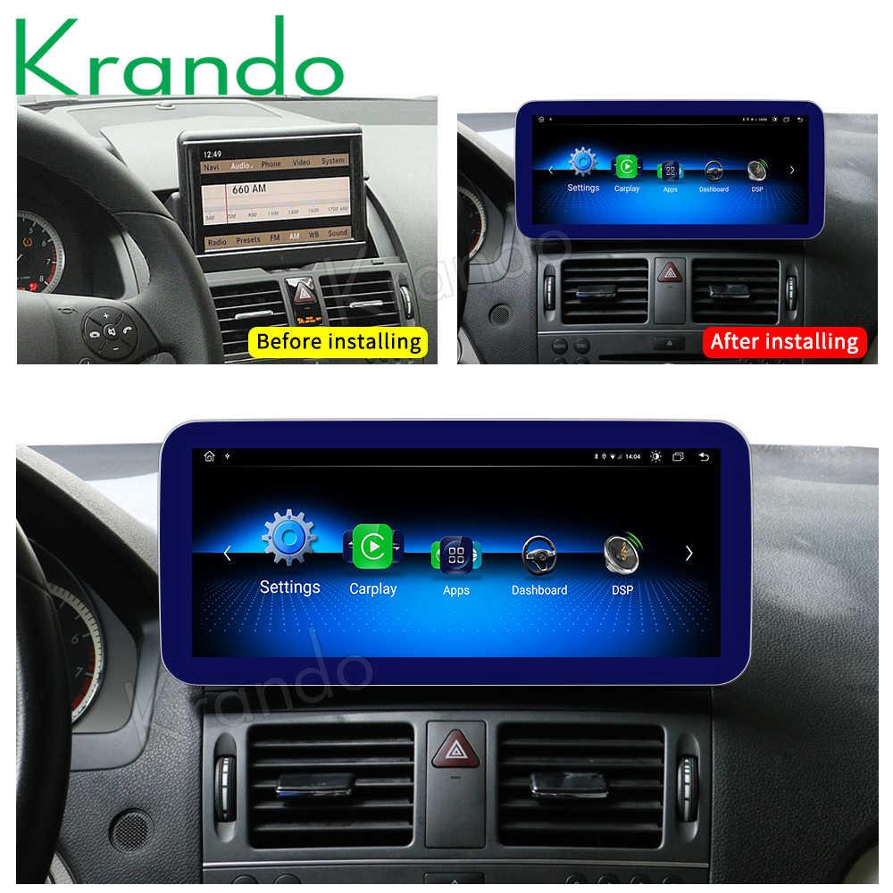 Krando Android 10.0 10.25 ''Ips Blue Ray 4 + 64Gb Auto Radio Dvd Navigatie Voor Mercedes Benz C w204 C180 C200 C220 2008-2014