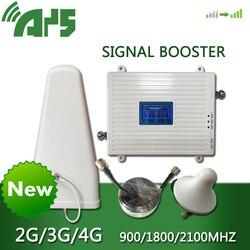 Ays gsm 2g 3g 4g telefone celular impulsionador banda tri móvel amplificador de sinal lte repetidor celular gsm dcs wcdma 900 1800 2100 conjunto