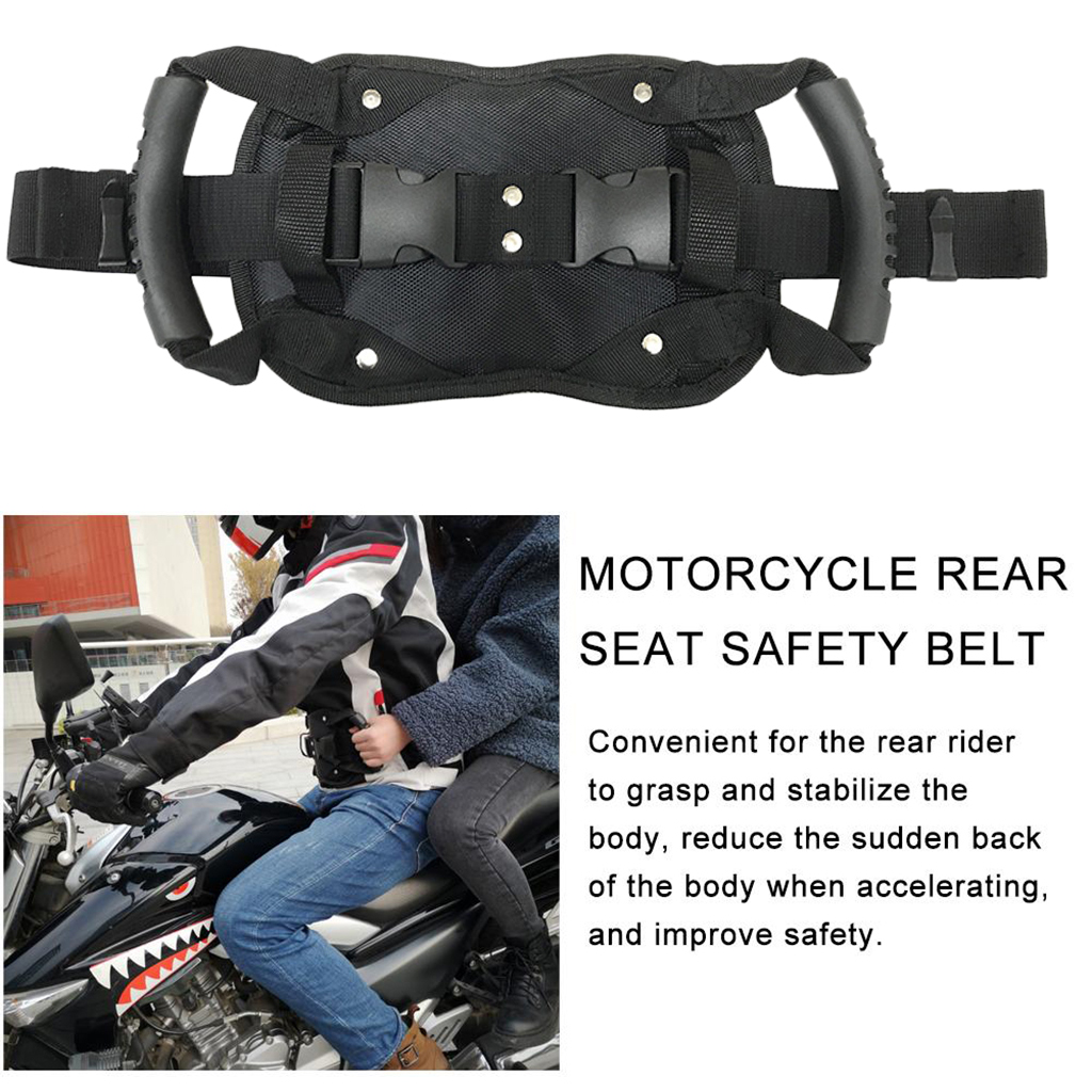 Universal Motorcycle Safety Belt Motocross ATV Rear Seat Passenger Grab Armrest Handle Non-slip Strap Protection Oxford Cloth