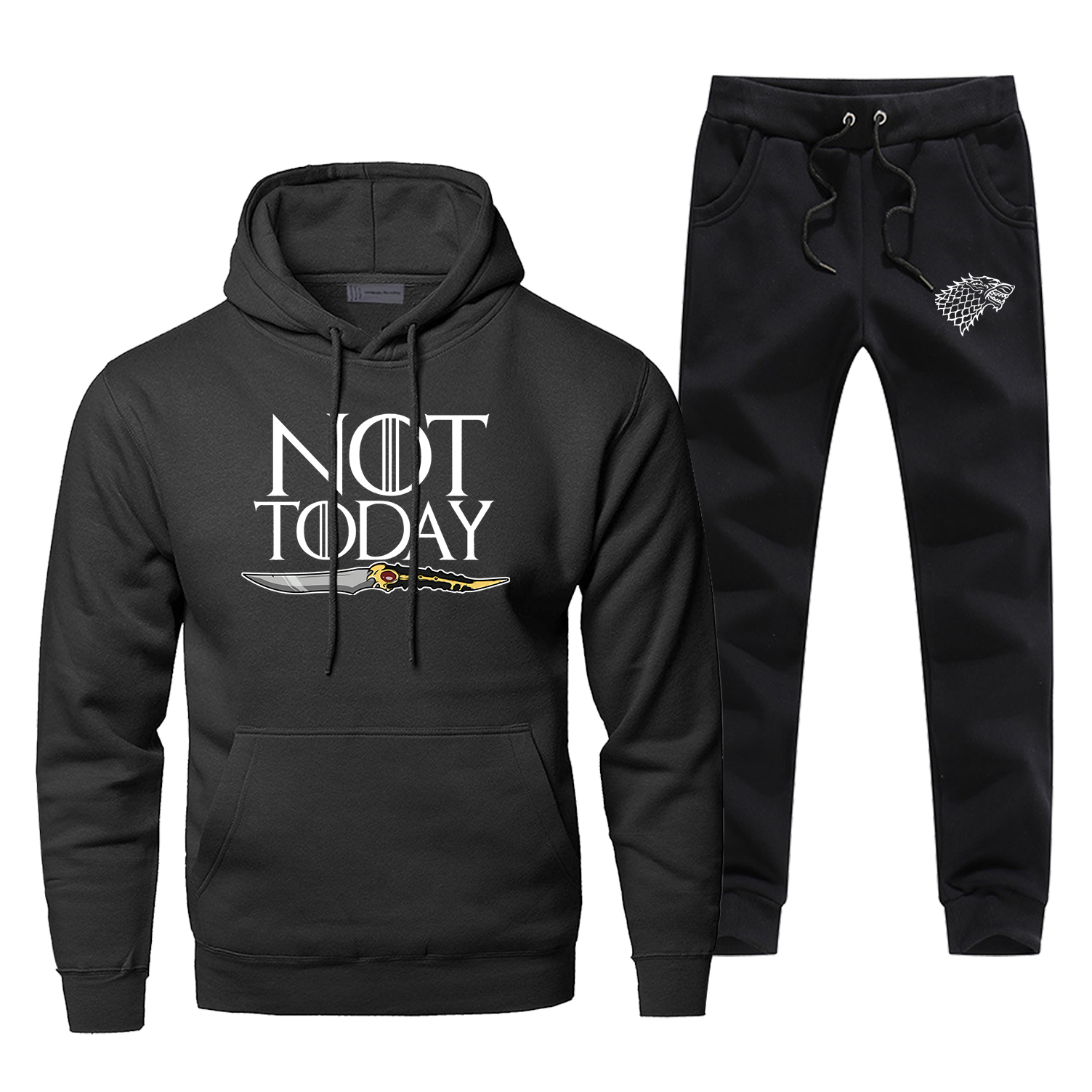 Game Of Thrones Sweatshirt Arya Stark Not Today Print Hoodies+pants Sets Men'S Fleece Hip Hop Streetwear Sportswear Sweatpants