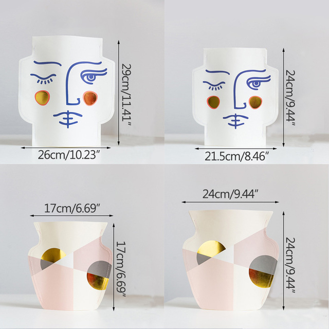 Strongwell Mediterranean Waterproof Paper Vase Double Sided Bronzing Face Geometry Nordic Flower Vase Desktop Home Decoration 6