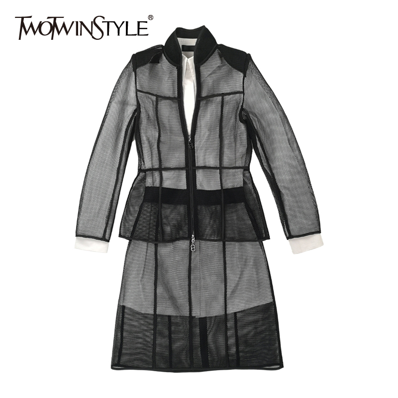 TWOTWINSTYLE Perspective Three Piece Set Women White Lapel Collar Dress Long Sleeve Shirts High Waist Skirt Female Suit 2019 New