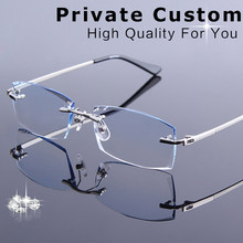 New Man Frameless Diamond Cutting Reading Glasses Men Prescription Eyeglasses Male Optical Myopia Computer Spectacle Presbyopia(China)