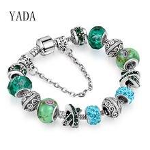 Женский браслет цепочка с подвесками yada зеленый Повседневный