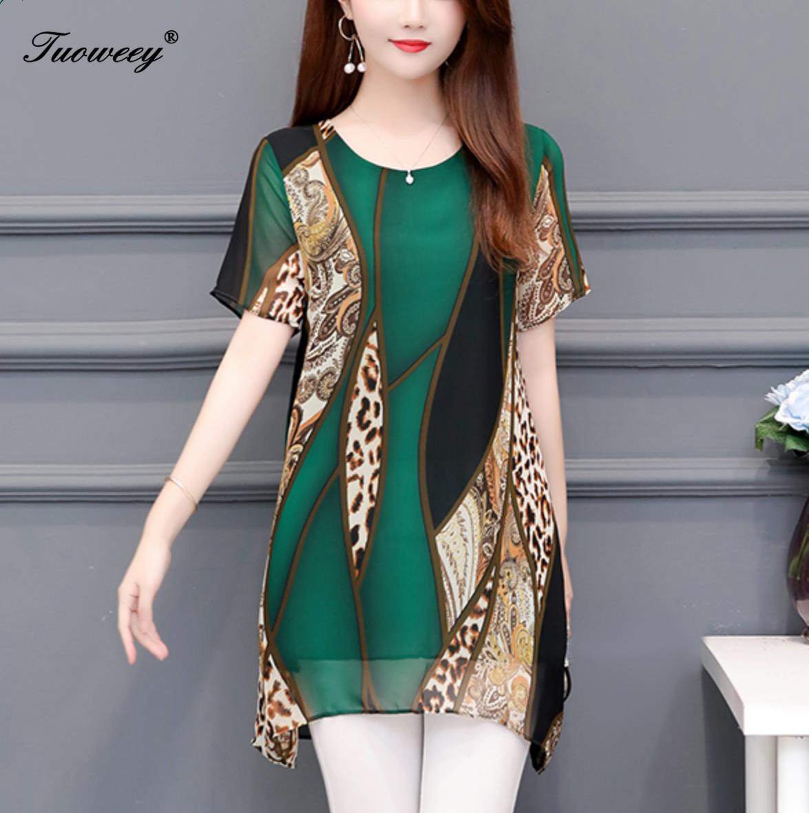 Women clothing New 2019 spring fashion loose plus size women's long   shirts   short sleeve leopard   blouse     shirts   chiffon blusas