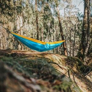Image 5 - 300*200cm przenośny Camping hamak spadochronowy Survival zewnętrzne meble ogrodowe wypoczynek spanie Hamaca Travel podwójne zawieszenie łóżko