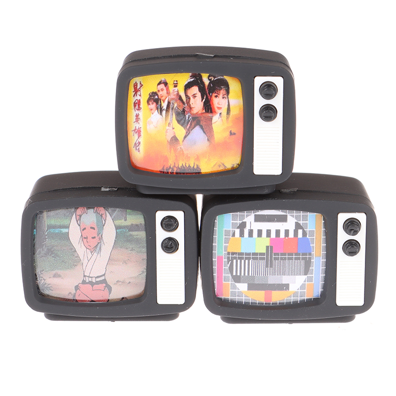 New 1Pcs Scale Dollhouse Miniature Flat Screen TV Television With Picture Doll House Furniture Accessories Toy