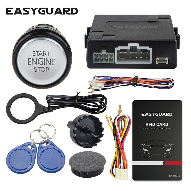 Easyguard RFID car alarm system with smart push start button and valet mode  keyless go system dc12v|Burglar Alarm| |  - title=