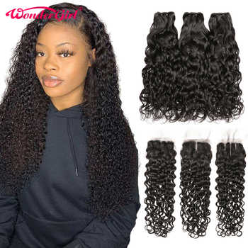Remy Peruvian Hair Water Wave Bundles With Closure 100% Human Hair Bundles With Closure Wonder girl Hair Extensions - DISCOUNT ITEM  48% OFF All Category