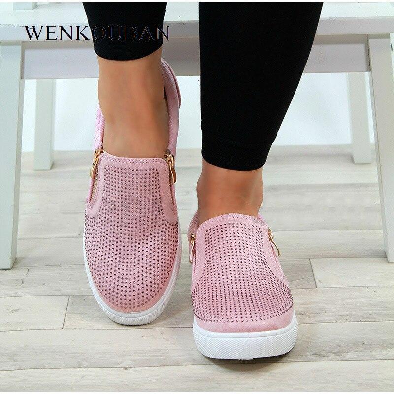 Image 3 - Platform Shoes Women Crystal Slip On Flat Loafers Female Wedge Shoes For Women Mocassin Zipper Glitter Flats Sapato FemininoWomens Flats   -