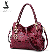 Chic Handbag Shoulder-Bag Women Purse Wine Sequin FOXER Cowhide Genuine-Leather Brand