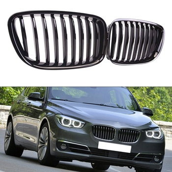 Glossy Black Front Hood Kidney Grille Grill for BMW 5 Series GT F07 4 Door Sedan 2009 - 2017